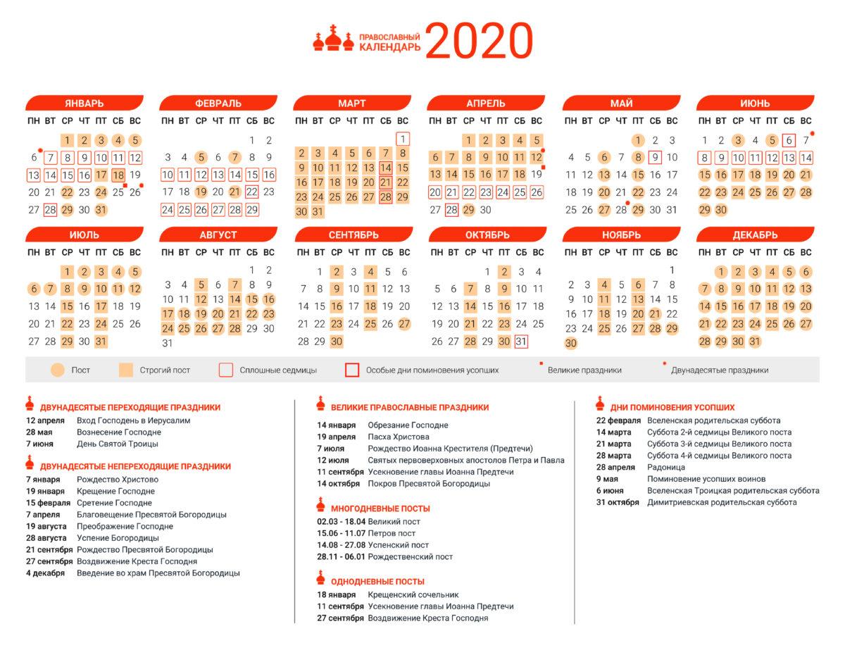 Православный Церковный календарь 2020